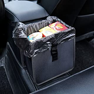 Hanging Car Trash Bag Can Bin Premium Waterproof Folding Litter Garbage Bag Organizer 1.85 Gallon Capacity Black