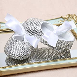 Handmade Silver All-Cover Rhinestone Bling Sparkle White Lace Up Princess Baptism Angel Crib Shoes 1st Baby Girls Birthday Keepsake Shoes