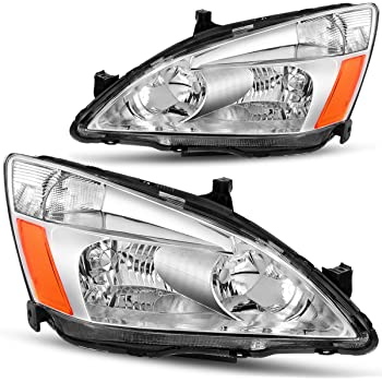 Amazon Com Dwvo Headlight Assembly Compatible With 2003 2004 2005 2006 2007 Honda Accord Replacement Headlamp Chrome Housing Clear Lens Automotive