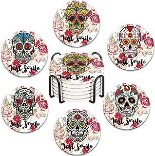 Details about  /Day Of The Dead Dia De Los Muertos Tabletop Sugar Skull Decor Set Of 2