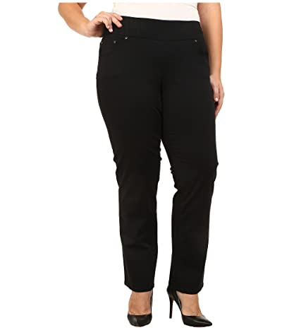 Jag Jeans Plus Size Peri Pull-On Straight Leg Pants in Bay Twill (Black) Women