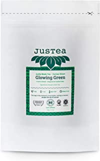 JusTea GLOWING GREEN | Loose Leaf Green Tea in a Compostable Refill Pouch | 40+ Cups (2.1oz) | Low Caffeine | Award-Winnin...
