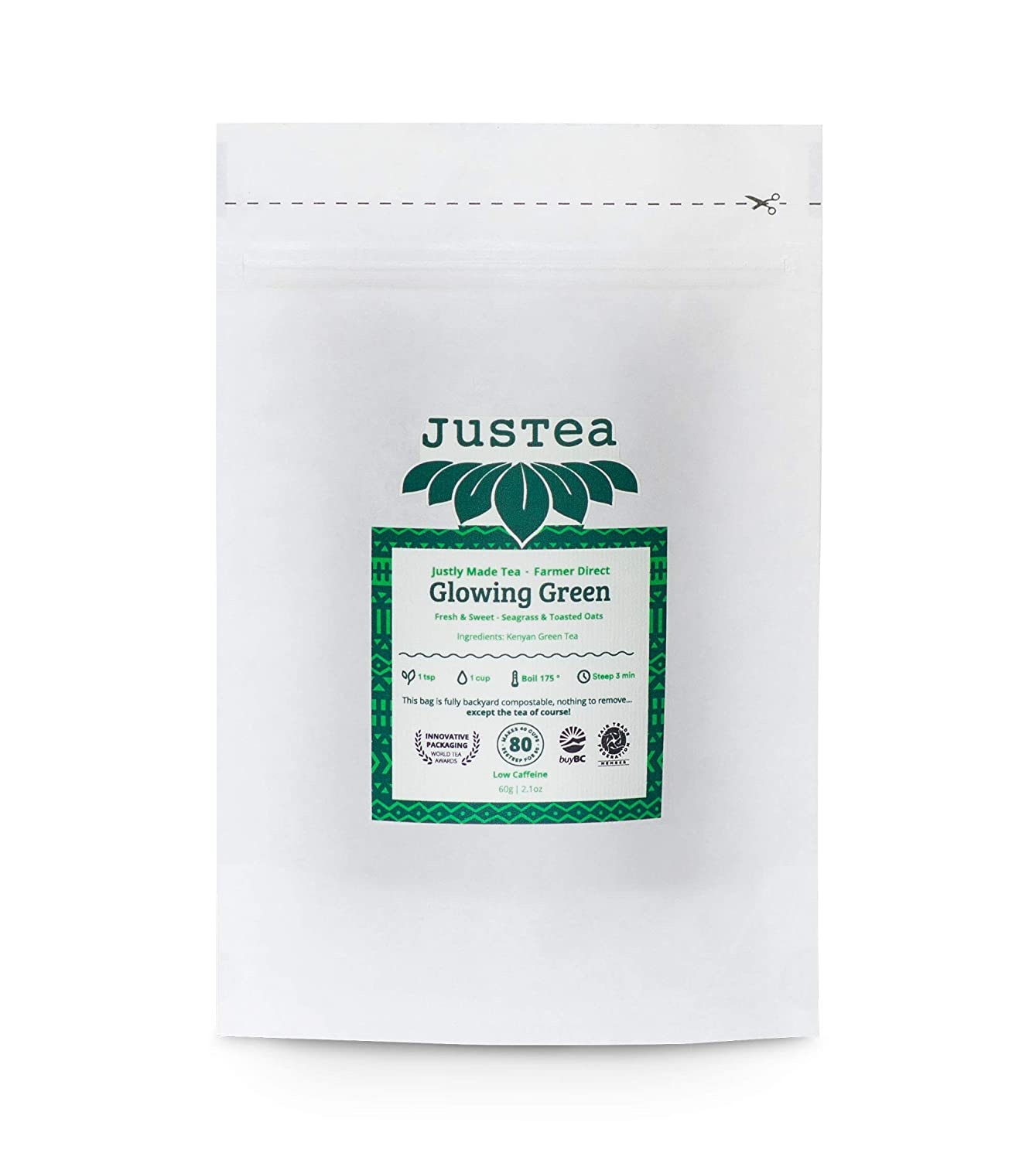 JusTea GLOWING GREEN Loose Leaf Green a in Compostable Phoenix Mall Tea Large discharge sale Ref