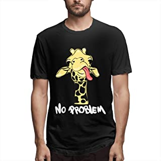 No Problem Funny Ironic Sarcastic Men's Graphic Tee Shirts Yellow Cartoon Giraffe Novelty Short Sleeve T Shirt