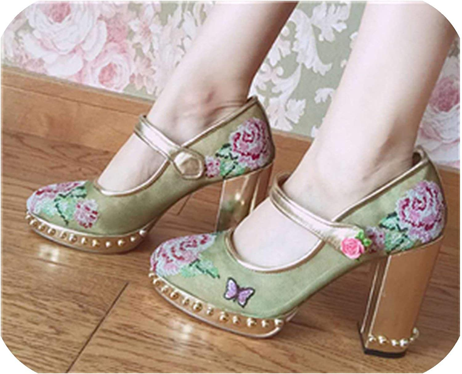 The Hot Rock-sandals Luxury Retro Mesh Air Women Pumps Sewing pink Flower Knitted Chunky High Heels Platform Strappy Wedding shoes Woman