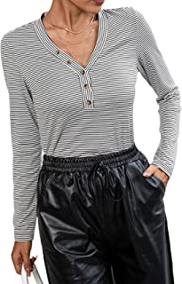 BDCUYAHSKL Herfst- en wintermode dames V-hals strepenprint lange mouwen gebreid T-shirt trui casual slanke onderkant shirt...