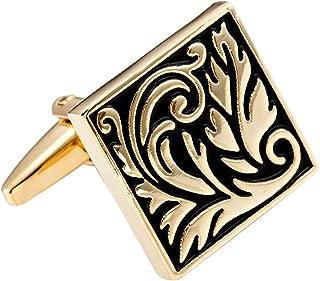 Impressive Egyptian Style Scroll Pattern Stainless Steel Cufflinks for Men (Gold, Black)