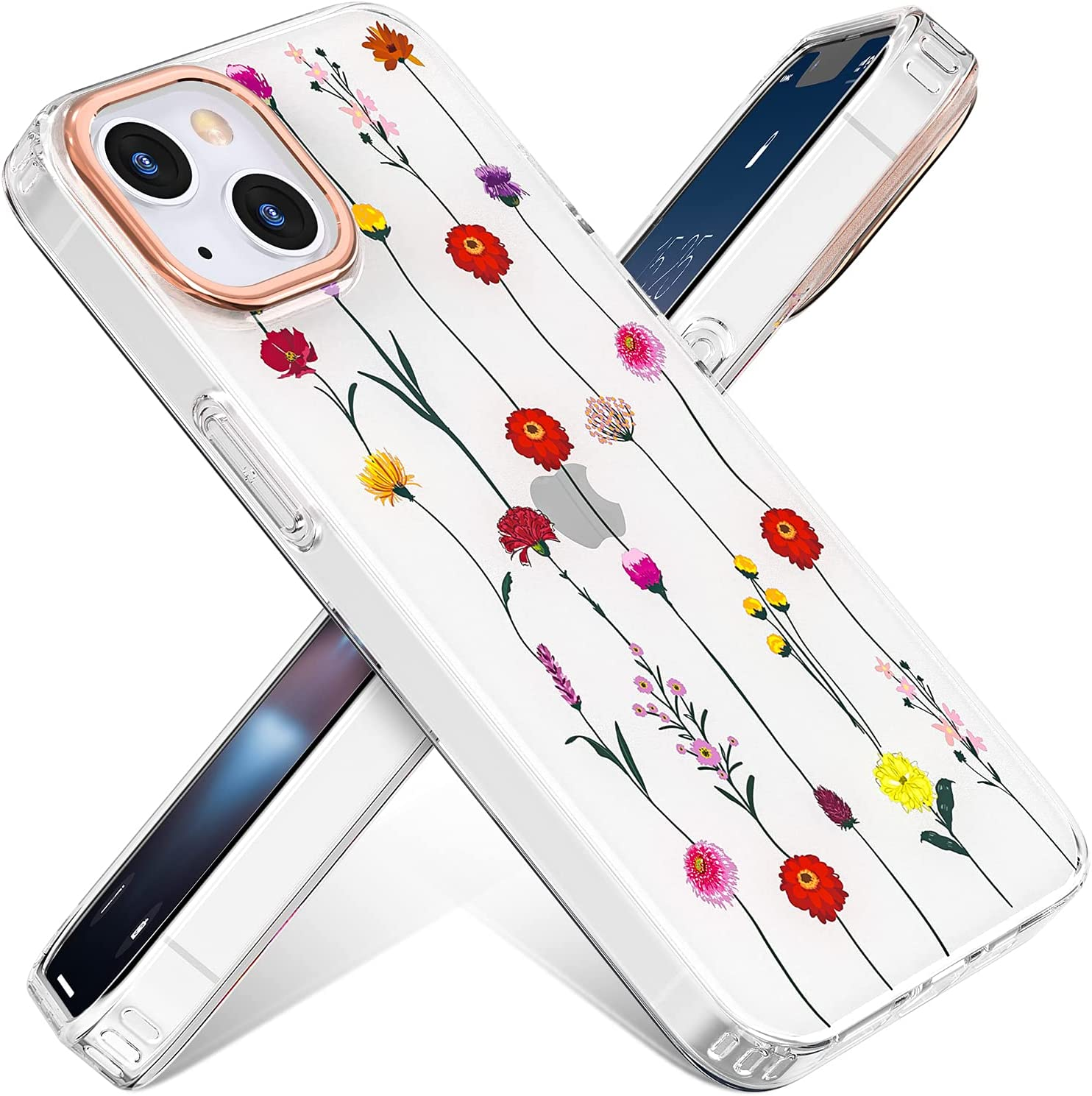 Zelaprox Compatible with iPhone 13 case, Floral Shockproof Durable Slim Thin Cases, Phone Cover with Flower Pattern for iPhone 13 6.1