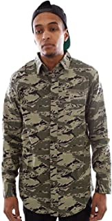 Crew L/S Woven Camouflage Button up Front Pocket 100% Cotton Men's Shirt