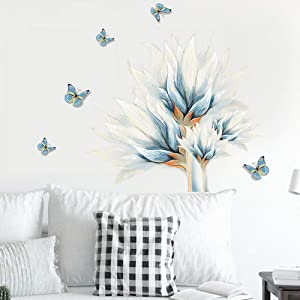 ROFARSO Flowers Wall Stickers Watercolor Butterflies Flower Nature Plant Vinyl Removable Peel and Stick Wall Decals Art Picture Decorations Decor for Teens Girls Bedroom Living Room Murals