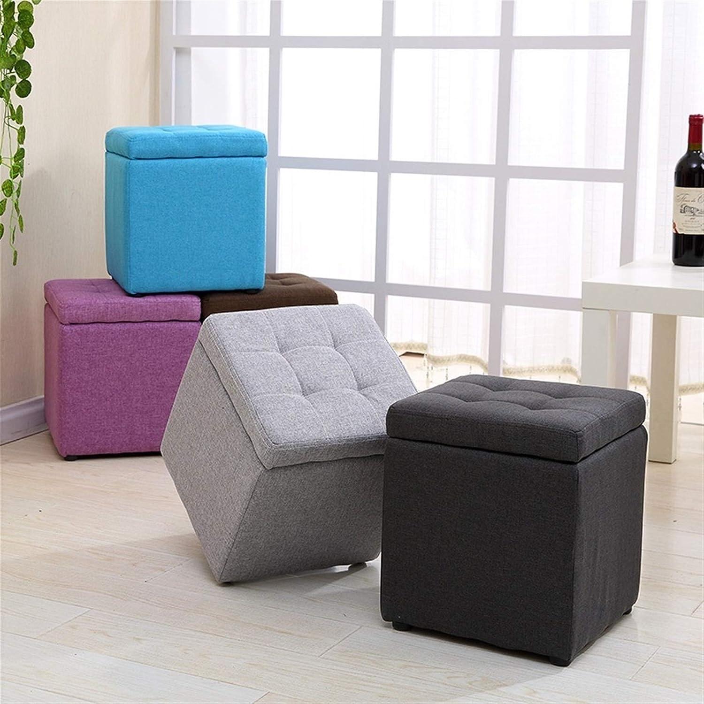 Une chaise de rangement pratique Tabouret de stockage de tissu multifonctionnel domestique 40 * 40 * 40cm (Color : Blue) Black