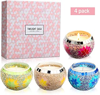 Yinuo Mirror Scented Candles Gift Set, Handmade Mosaic Design Natural Soy Wax 4.4 Oz Portable Travel Candles for Stress Relief and Aromatherapy Women Gift Home Decoration- 4 Pack