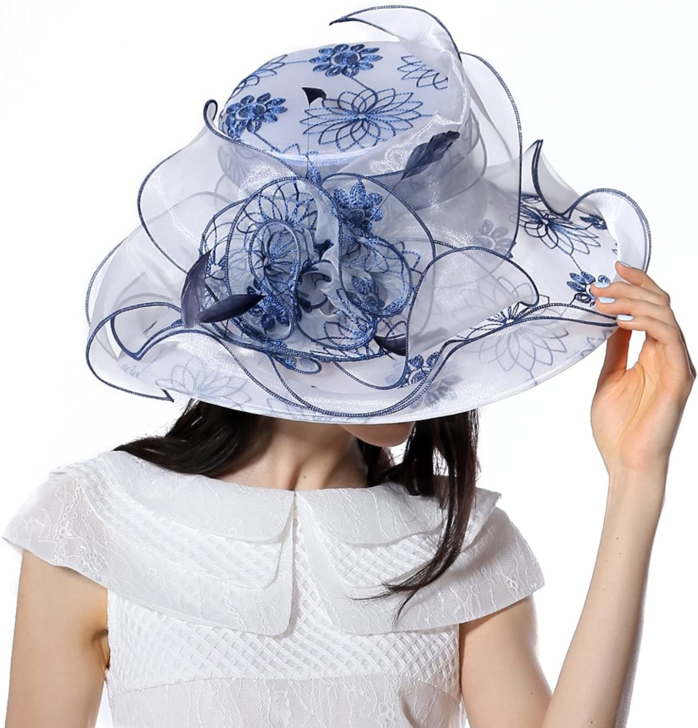 June'syoung Orgzaza Hats 100% Organza White Navy colors Wedding Wear Fedoras Hat (Navy White Hat)