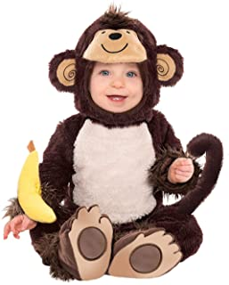 Amscan Baby Monkey Onesie Halloween Costume for Infants, Includes a Banana Wrist Rattle