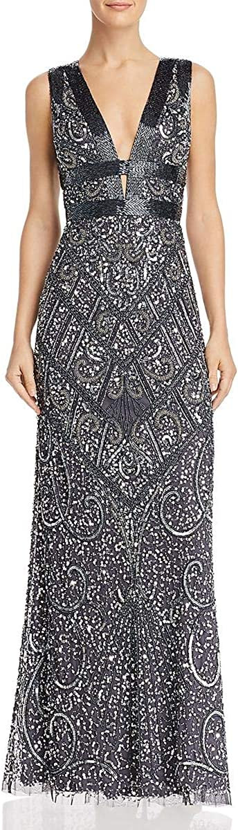 Aidan by Aidan Mattox Women's Beaded Gown with Plunge V Neckline