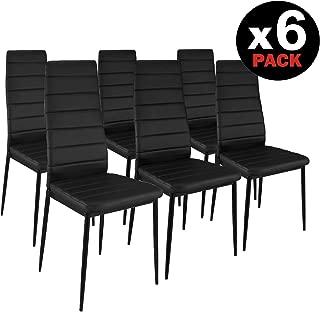 HomeSouth - Pack Seis sillas tapizadas símil Piel, Silla Color Negro Patas metalicas Negras.