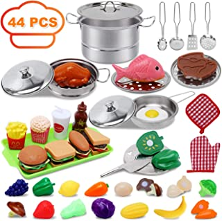 Kitchen Toys for 2 3 4 5 6 Year Old Girls Boys,Stainless Steel Play Kitchen Accessories,44 PCS Play Food Set for Kids Kitchen with Cookware Pots Pans,Pretend Play Toy for Age 3-6 Years Old Toddlers