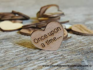 Wooden Heart Confetti ~ Once Upon A Time ~ Wood Hearts, Wood Confetti Engraved Love Hearts- Rustic Wedding Decor (100 count)