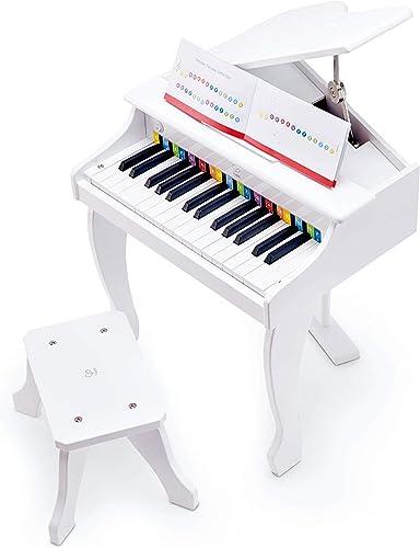 Hape Piano à Queue Électronique Blanc, 30 Touches, avec Tabouret, Clavier Électronique pour les Enfants dès 3 Ans