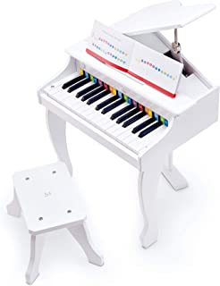 Hape Deluxe White Grand Piano | Thirty Key Piano Toy with Stool, Electronic Keyboard Musical Toy Set for Kids 3 Years+