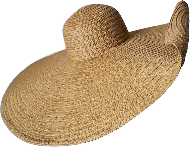 Women's Wide Brim Straw Hat, Beachwear Sun Hat UV Protection Roll Up Floppy Beach Hat for Summer Beach Cap