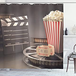 Ambesonne Movie Theater Shower Curtain, Old Fashion Entertainment Objects Related to Cinema Film Reel Motion Picture, Cloth Fabric Bathroom Decor Set with Hooks, 75
