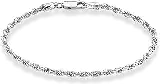 Miabella Solid 925 Sterling Silver Italian 2mm, 3mm Diamond-Cut Braided Rope Chain Bracelet for Women Men 6.5, 7, 7.5, 8, ...