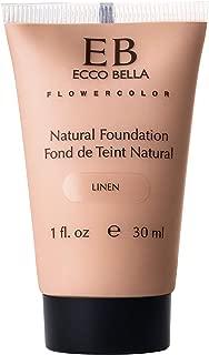 Ecco Bella Liquid Foundation Makeup - Natural, Vegan, Gluten and Paraben-Free Makeup for Flawless Coverage, Linen, 1 oz