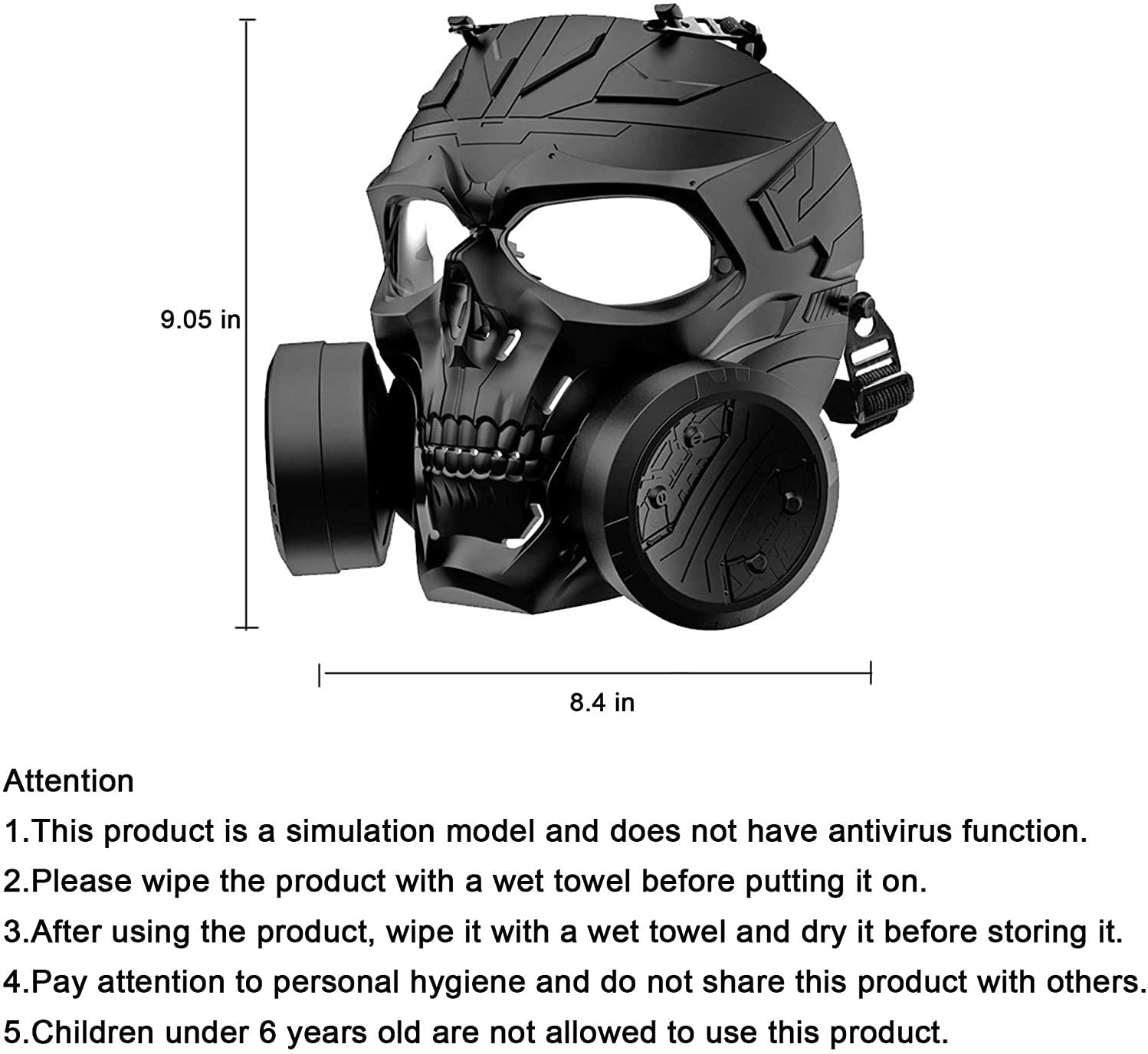 M10 Airsoft Tactical Protective Gas Mask, Toxic Safety Double Exhaust Fan Full Face Protection Dummy Game Mask Adjustable Strap for BB Gun Cosplay Halloween Masquerade Costume, No Anti-Gas Function