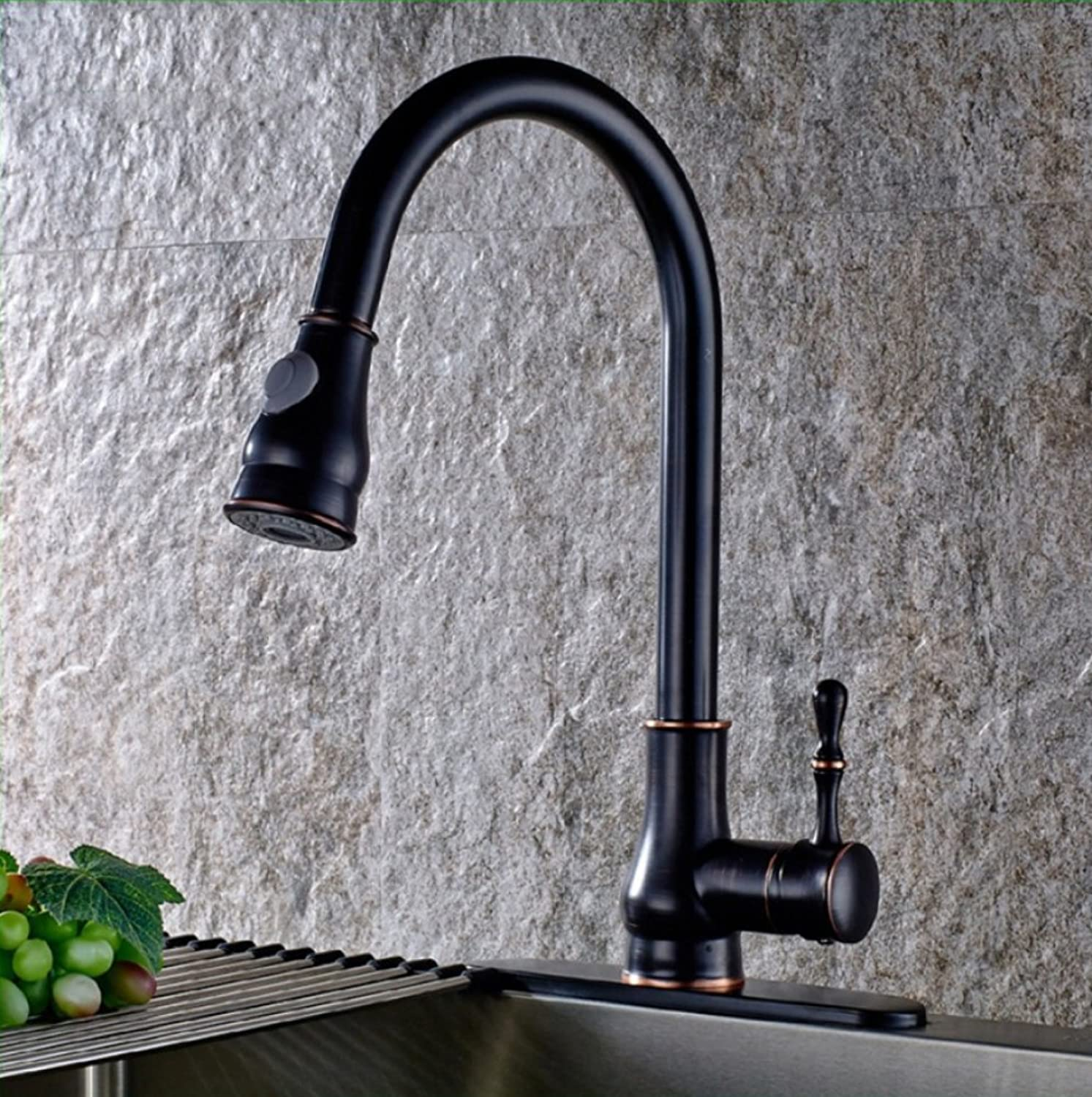 LD&P Kitchen Taps,Kitchen Cold and hot mixing Taps Faucet,all bronze chrome wire drawing circular black color Can redate release drawing type single hole Kitchen Sink Taps