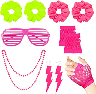 WATINC 10Pcs 80's Retro Neon Costume Outfit Accessories for Women 80s Hair Scrunchies for Hair Pink Shutter Glasses Finger...