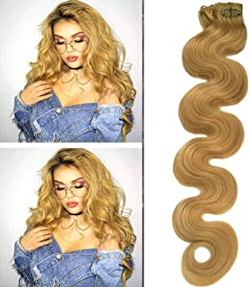 Valiilo Clip Hair Extensions Body Wave Honey Blonde 70grams 7pcs Soft Heat Resistant Real Human Hair Wavy Blonde Extensions Clip ins(#24, 20inches)
