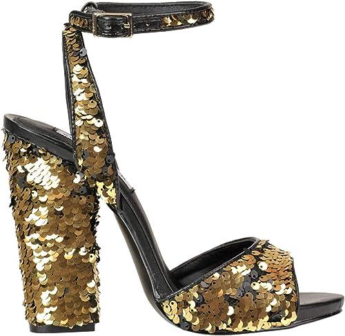 Steve Madden EZGL066015 Damen Gold Leder Sandalen Sandalen Sandalen  Viel Spaß beim Einkaufen