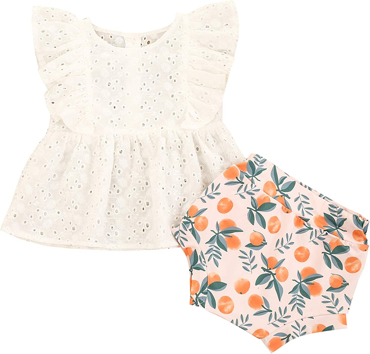 Mubineo Toddler Baby Girl Summer Ruffle Sleeveless Lace Tops Bloomers Shorts Clothes Outfits