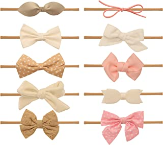 Baby Girl Headbands and bows - Nylon Headband Fits newborn toddler infant girls Fall Colors Mustard Navy Burgundy