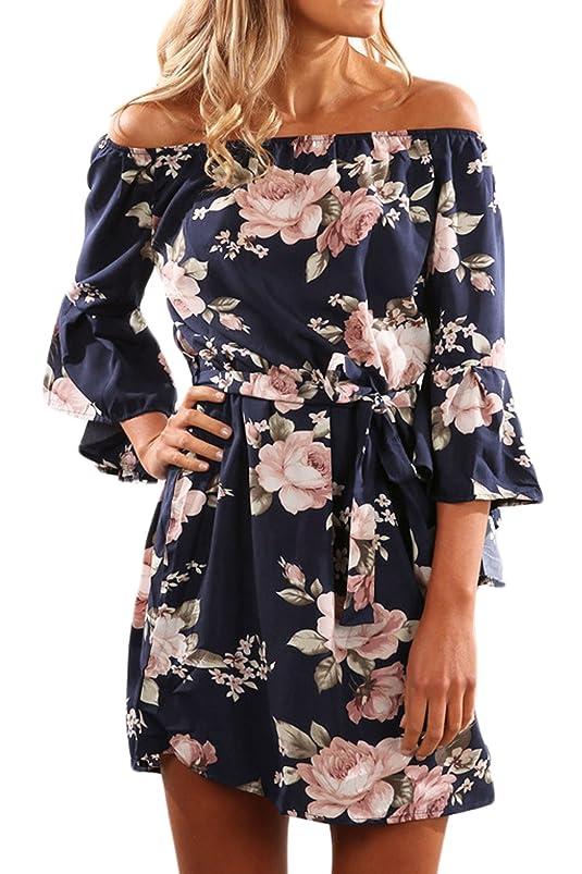 Women Elegant Dress Floral Off Shoulder Bell Sleeve Belted Dresses sewzpjlx171204