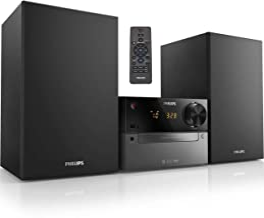 Philips Sistema estéreo Bluetooth para el hogar con reproductor de CD, transmisión inalámbrica, MP3, USB, entrada de audio, radio FM, 15W, sistema de sonido micro música