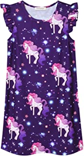 Image of Pretty Sleeveless Purple Unicorn Nightgown for Girls - See More Designs