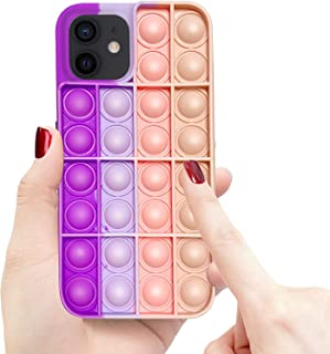 Pop Its Case for iPhone 12/12 Pro, Push Pop Bubble Fidget Toy Sensory Protective Relief Stress Case, Anxiety Reliever Rain...