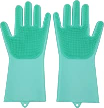 Set of 2 Pairs 100% Silicone Gloves with Wash Scrubber, Reusable Brush Heat Resistant Kitchen Tool for Cleaning, Dish Wash...