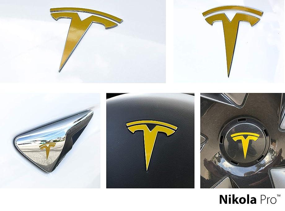 Nikola Pro Tesla Model 3 Logo Decal Wrap Kit (Gloss Gold)