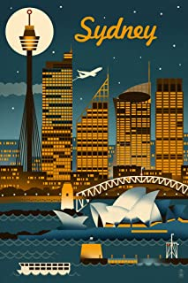 Sydney, Australia - Retro Skyline (12x18 Art Print, Wall Decor Travel Poster)