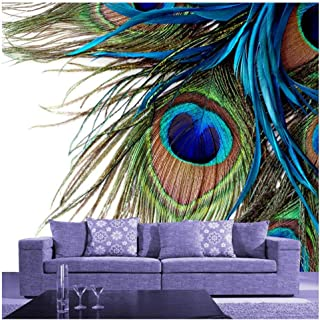 Yxjj1 Blue Peacock Feather - Mural Decal Art Vinyl Wall Decals Wallpaper for Living Room Bedrooms Mural@200cm(W) x140cm(H)