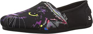 حذاء باليه بوبز مسطح من قماش مخملي بتصميم صور سلالات حيوانات للنساء من سكيتشرز