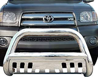 Span Bull Bar Skid Plate Front Push Bumper Grille Guard Stainless Steel Chrome for 2001-2007 Toyota Sequoia 1999-2006 Toyota Tundra