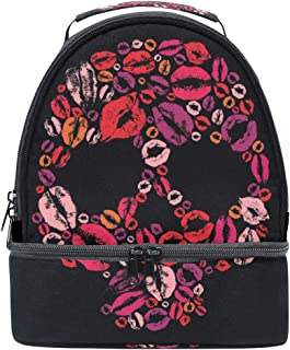 ALAZA Skull Silhouette with Lips Kisses Portable Shoulder Double Lunch Box Bag,Sugar Skull Insulated Lunch Tote Outdoors Bag for School Office Women Men Boys Girls