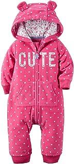 Baby Girls' 1 Piece Fleece Hood Jumpsuit (18m, Pink)
