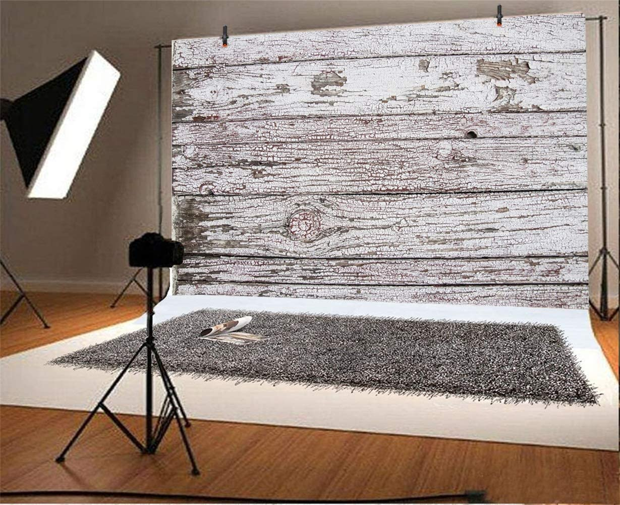 SZZWY Polyester 7x5ft Rustic Mottled White Lateral-Cut Wood Plank Photography Background Faded Wooden Board Backdrop Children Adult Pets Artistic Portrait Shoot Countryside Studio