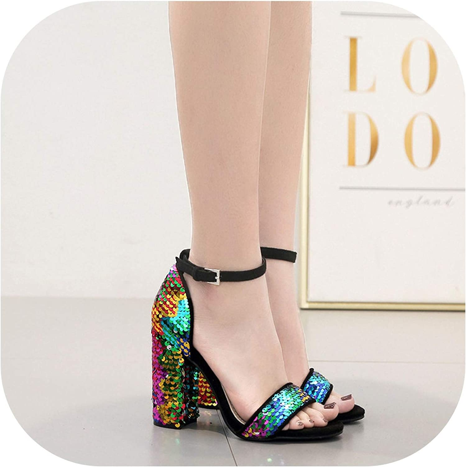 QianQianStore shoes Woman color Sequins Thick with high-Heeled Women's Large Size Sandals