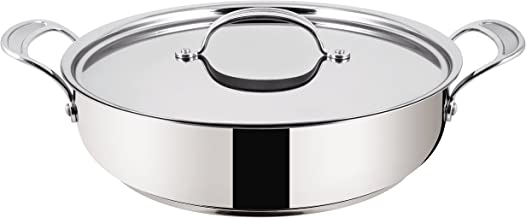Tefal Jamie Oliver Stainless Steel Premium Series Non-Stick Shallow Fry Pan and Lid, 30 cm